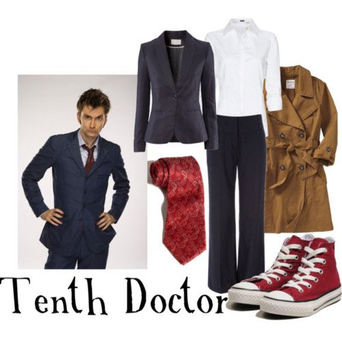 Tenth Doctor for women  Mango long sleeve blouse, £23Old Navy twill trench coat, $43H m jacket, £30Wallis navy pants, $42Black Brown 1826 Paisley Silk Tie, $41Converse Ct As Canvas Hi Top 317377, 15 CAD