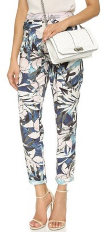 Hawaiian Print High Waste Cuffed Trousers