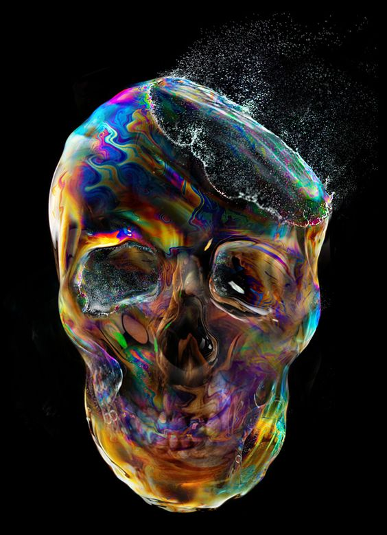 """Bubble Skull"" for t-shirt design by Eddie Yau 