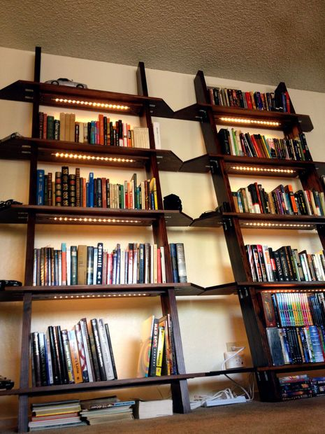 Leaning Bookshelves with LED Lighting #woodworking #decoration #furniture