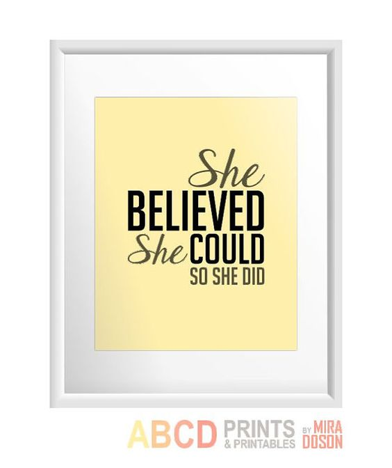 Inspirational quote print, wall art, She Believed She Could so by MiraDoson, home decor