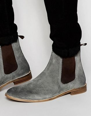 ASOS Chelsea Boots in Gray Suede