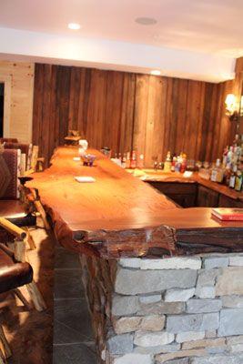 Wood bar countertops natural wood wet bar top crafted for Natural edge wood countertops