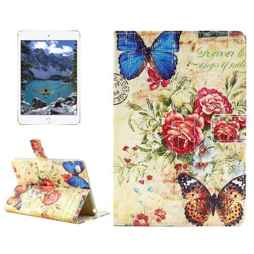 For+iPad+mini+4+Butterfly+Pattern+Horizontal+Flip+Leather+Case+with+Holder