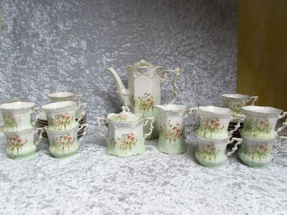 Weimar Porzellan, Fasolt & Eichler, Kaffeeservice um 1860, handgemalt ! 27 tlg. | eBay