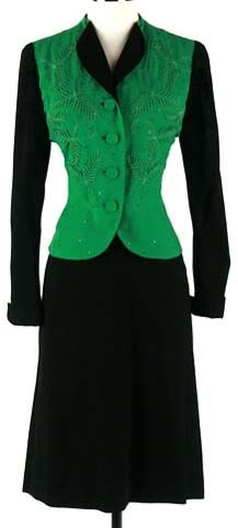 Vestido de traje chaqueta 40s Negro Verde Soutache