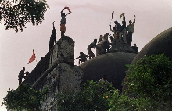 Babri masjid being demolished on December 6, 1992. Image credit: Vimeo