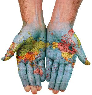 Painted hands of the world.
