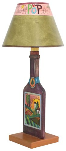 Wine bottles table lamps and sticks on pinterest for Lamps made out of wine bottles