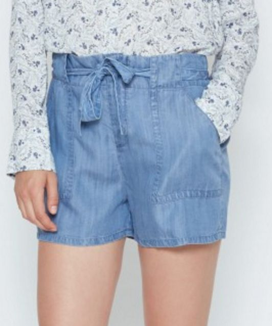 Belted Mireille Chambray Shorts