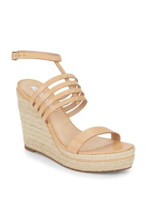 DIANE VON FURSTENBERG Gabby Strappy Leather Espadrille Wedge Sandals. #dianevonfurstenberg #shoes #sandals