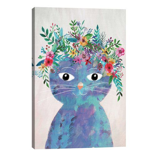 Happy Larry Graphic Art Print On Wrapped Canvas Cat Art Print Framed Art Prints Cat Wall Art