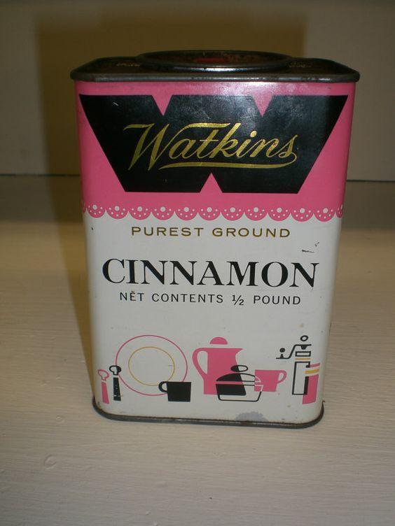 Vintage Pink and Black Watkins Cinnamon Spice Tin by fionabean, $10.00