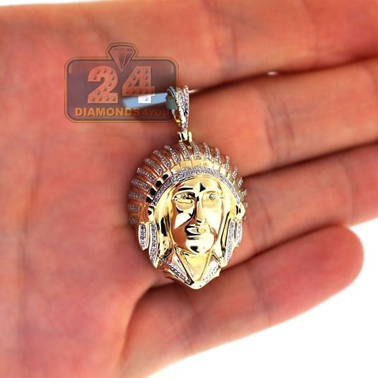 Mens Diamond American Indian Head Pendant 10k Yellow Gold 0 29ct Mens Pendant Yellow Gold Plain Gold Pendant