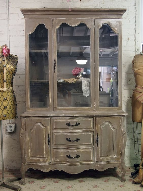 Vintage Painted Cottage Distressed French China Cabinet