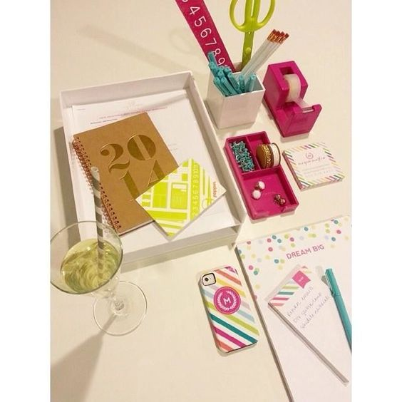 My desk is poppin! Both the bubbly & @Poppin office products kind! They go just right with my white & bright office! #workhappy #supplystyle #white #pink #limegreen