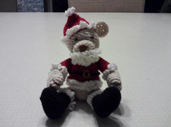 My Sister started handmaking little Bears. I love it!!!! His name is Wee Widdle Santa Bear, aka Wee Widdle Pop Pop Bear