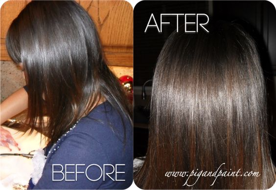 Vinegar rinse for shiny hair. 2 cups warm water + 1 cup vinegar, pour over head and let steep for 5-10 minutes to remove product residue