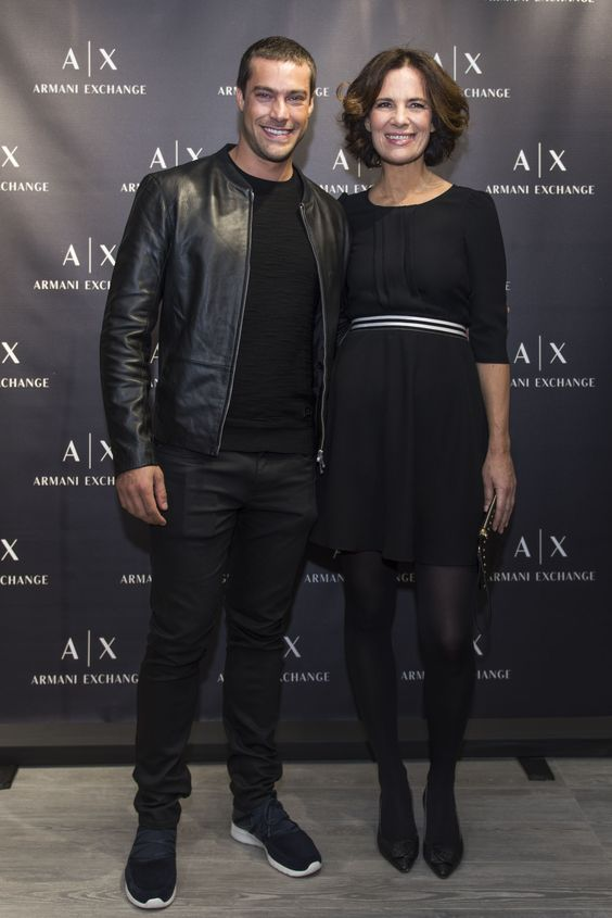 Roberta Armani alongside Gonçalo Teixeira at last night's opening celebration of the new Armani Exchange store in Lisbon, Portugal. #ArmaniStars