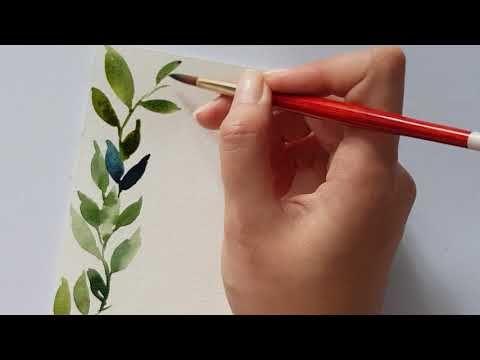 Simple Watercolor Leaves Wreath Youtube Watercolor Flowers