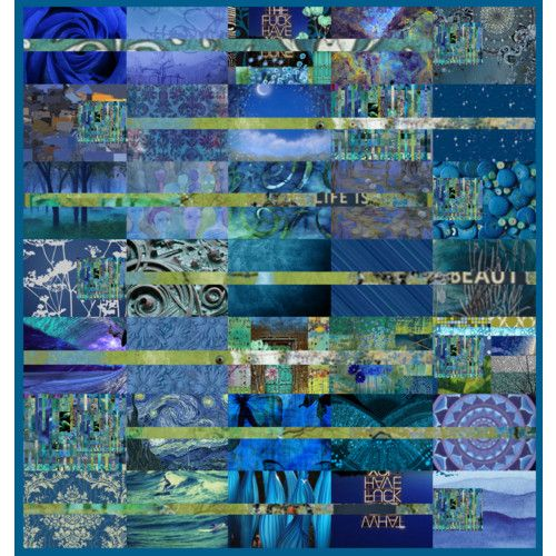 ♥ blue collage quilt art. Ooops, not a quilt but a pretty inspiration.