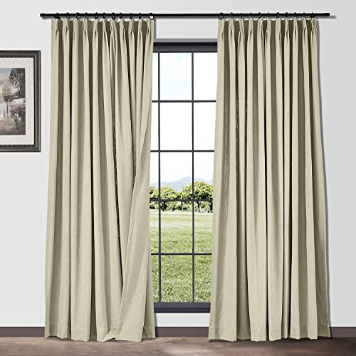 Chadmade 2 Panels 50 Inch Wide By 96 Inch Long Linen Blend Texture Curtains Room Darkening Pinch Pleated Dr Extra Long Drapes Pleated Drapery Half Price Drapes Extra wide pinch pleat drapes