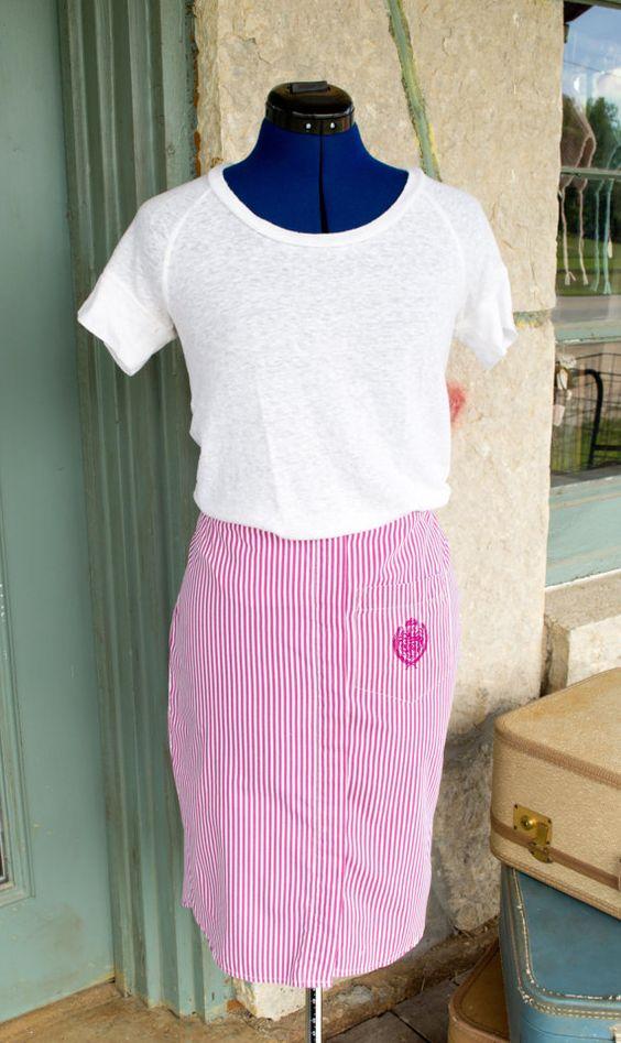 Purple Striped Pencil Skirt Vintage Upcycled by VintageGracesShop