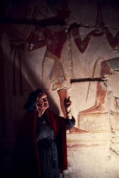 Dorothy Eady in the Temple of Seti I... Believed she was the reincarnation of one of Seti's lovers after a NDE as a child. Became a famed Egyptologist led many of the discoveries of Seti's temple. Fascinating story.