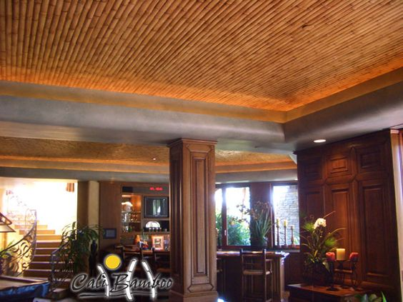 Natural Bamboo Slats In Ceiling Design Home Reno