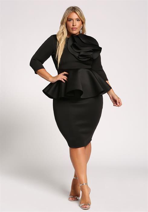 Plus Size Floral Applique Peplum Bodycon Dress | Plus size ...
