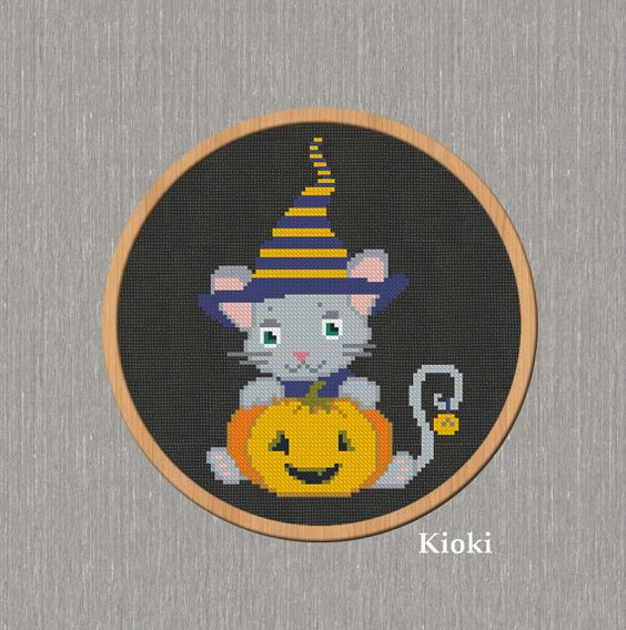 Cross Stitch Pattern Haloween Baby Instant Download