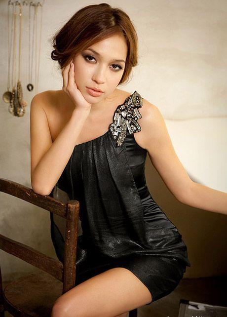 This One Shoulder Silk Look Dress.              sprightenterprise.com