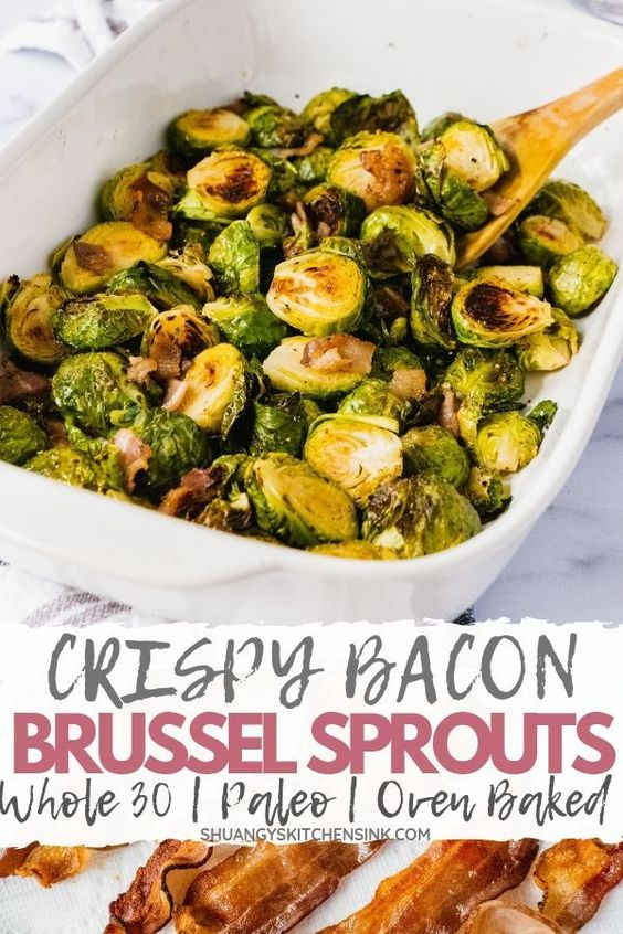 Crispy Bacon Brussel Sprouts (Whole30, Paleo)