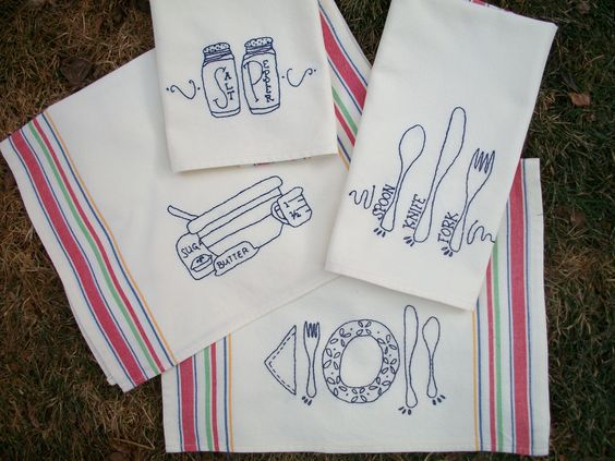 New Kitchen Tea Towel Embroidery Pattern Hand Embroidery