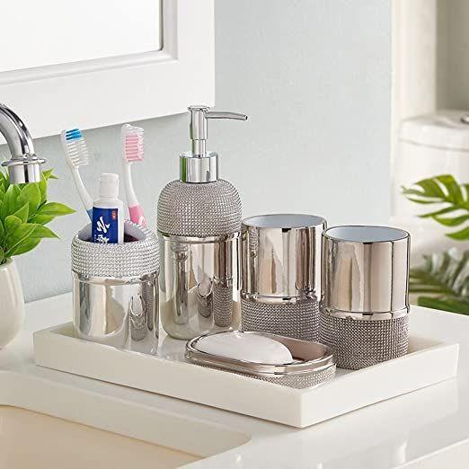 Wu Bathroom Suite The American Nordic Wash Bath Kit 6 Piece Luxury Mouthwash Cup B Modern Bathroom Accessories Bathroom Accessories Silver Bathroom Accessories
