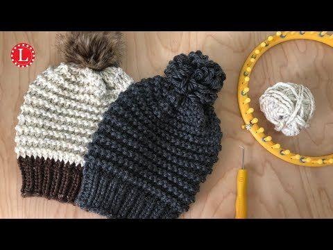 Loom Knitting Hat Pattern Easy Garter Stitch Beanie Slouchy Youtube Loom Knitting Patterns Hat Loom Knitting Tutorial Loom Knitting For Beginners