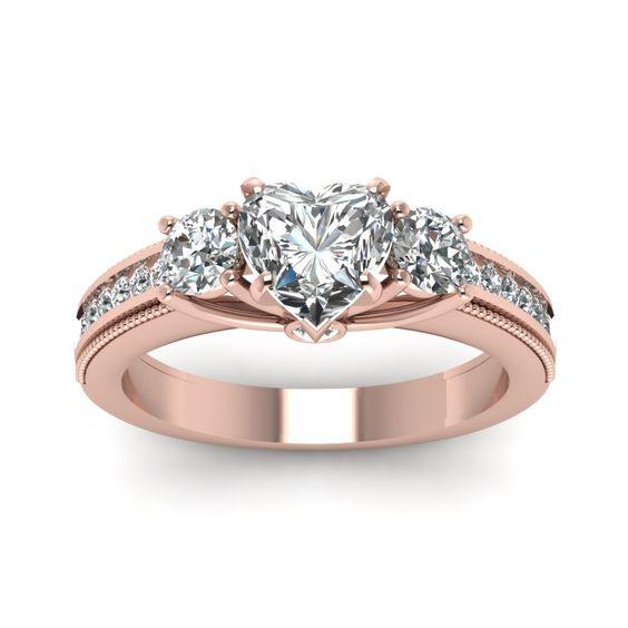 Heart Shaped diamond Side Stone Engagement Rings with White Diamond in 14K Rose Gold | Milgrain Pattern Ring | Fascinating Diamonds