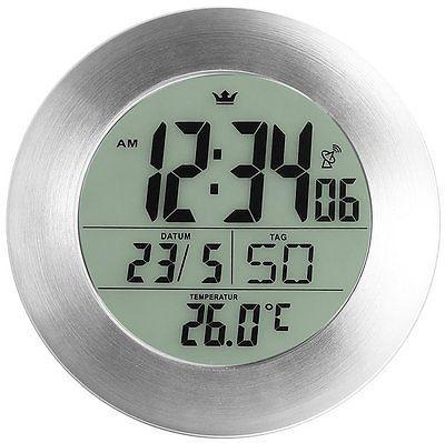 Semper #bathroom Radio Clock Wall Clock #silver Grey 17 Cm #diameter, View
