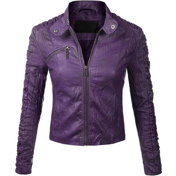 BIADANI Women Faux Leather Moto Biker Detail Jacket ($32) ❤ liked on Polyvore featuring outerwear, jackets, purple, biker jacket, purple jacket, synthetic leather jacket, vegan leather jacket and vegan jackets
