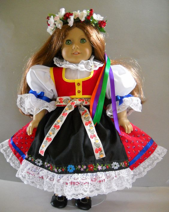 """Fits 18"""" American Girl Doll Czech Traditional Folk Dress Clothes s Costume Only 