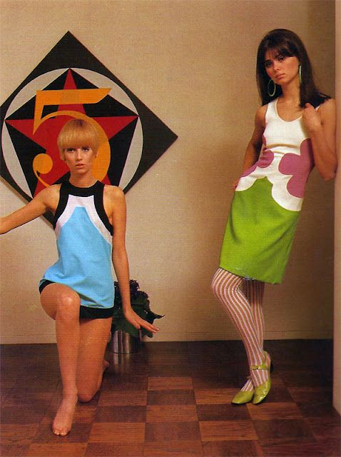 Color block dresses by John Kloss, 1967