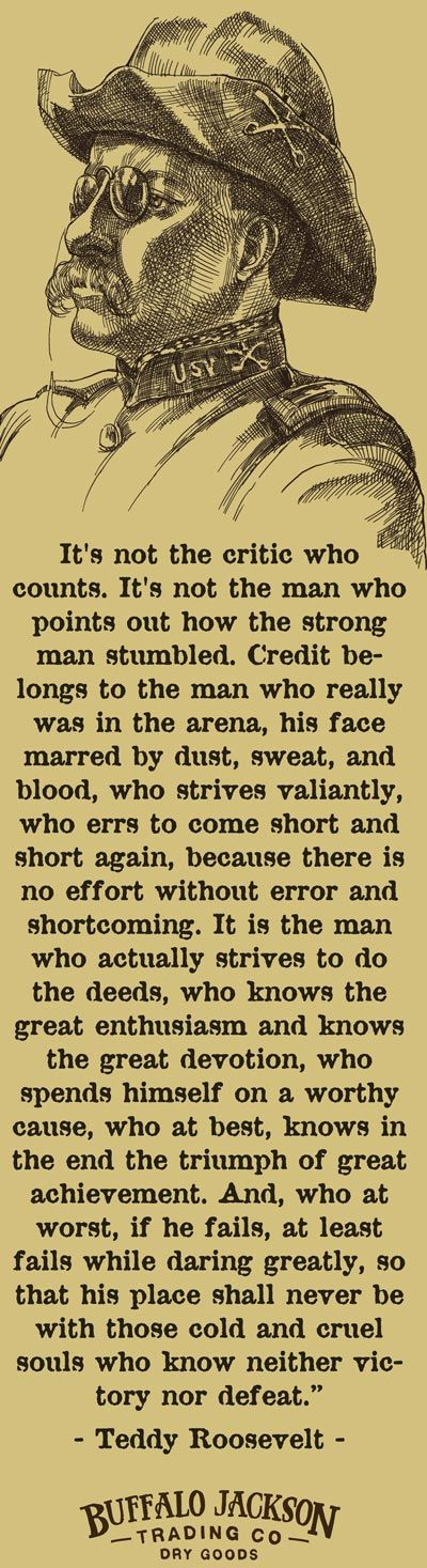 """Teddy Roosevelt Not the Critic Who Counts Quote, some people call this the """"man in the area"""" quote."""
