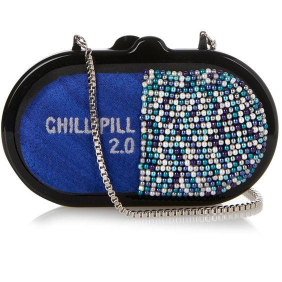 Sarah's Bag Chill Pill embellished clutch ($1,195) ❤ liked on Polyvore featuring bags, handbags, clutches, beaded handbag, blue clutches, blue purse, embellished purses and chain handle handbags