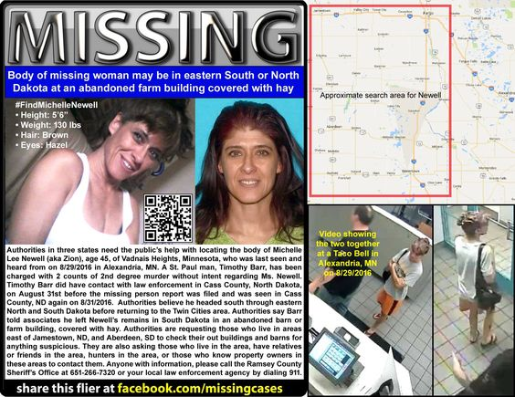 Public's help sought to find body of #missing Vadnais Heights, MN woman believed to have been dumped in eastern South Dakota or #NorthDakota at an abandoned barn or farm building, covered with hay: The Sheriff's Offices of Cass County, North Dakota, and Ramsey County, Minnesota, seek the public's help with locating the body of Michelle Lee Newell (aka Zion), age 45, of Vadnai... See More