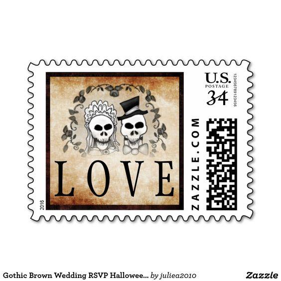 Visit: http://jagifts.us/HalloweenBrownSkeletonsLovePostage - Gothic Brown Wedding LOVE Halloween Skeletons Postage Stamp by Julie Alvarez Designs. Purchased direct thru Zazzle. A wide array of matching items are available for your Halloween wedding. #HalloweenWedding #skeletons