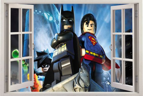 Lego batman superman vinyl wall mural simulated window for Batman bedroom wall mural