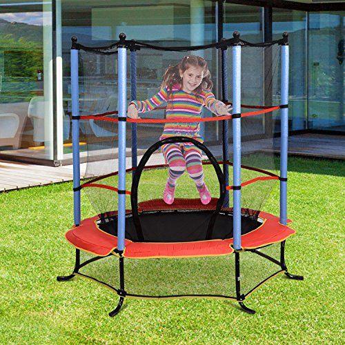 "HOMCOM 4.5FT Kids Trampoline Round Bouncer Enclosure Safety Net Outdoor Toy 55/"""