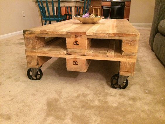 Caster Wheels on a pallet table