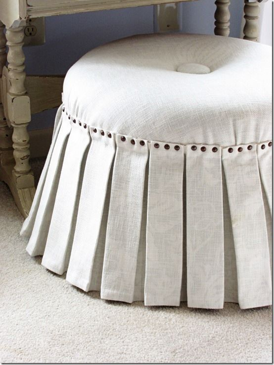 DIY: no-sew pleated ottoman with nailhead trim