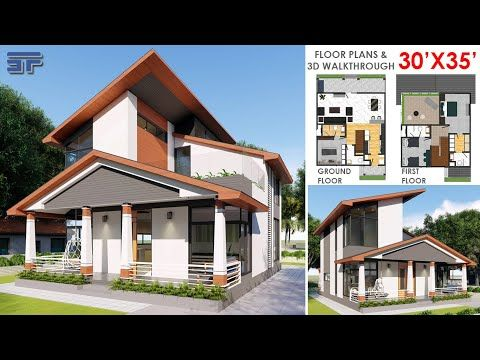 30x35 Feet House Design Interior Exterior Floor Plans 3d Walkthrough Sloping Roof Youtube In 2021 Classic House Design 3d House Plans Classic House